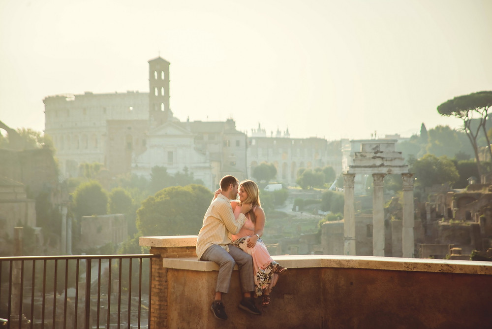 engagement photo shoot in Rome by destination wedding photographer in Italy Olga Angelucci