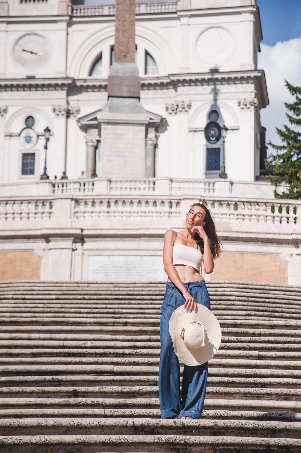 photo shoot at Spanish steps in Rome, фотосессия на испанской лестнице в Риме