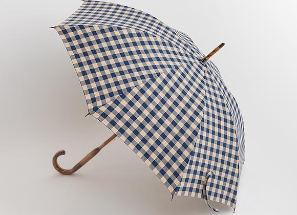 レトロギンガムチェック長傘−ネイビー表