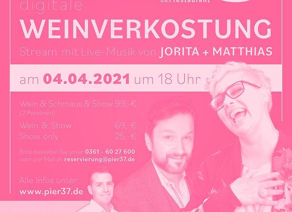 WEIN & SCHMAUSS & SHOW - Livestream-Ticket 04.04.2021, 18 Uhr
