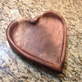 Black Walnut heart shaped tray. Created by Arbor-Craft.