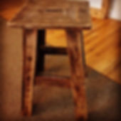 Reclaimed pallet wood stool finished with Walnut stain. Created by Arbor-Craft.