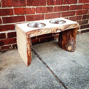 Live edge Pine dogbowl stand with slab legs. Created by Arbor-Craft.