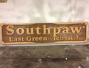Boat sign made of Cedar. Created by Arbor-Craft.