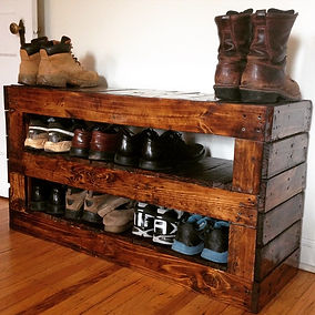 Shoe rack made from reclaimed pallets and finished with Walnut stain. Created by Arbor-Craft.