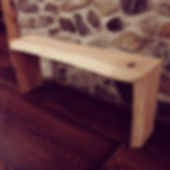 Live edge Ash bench with waterfall joints. Created by Arbor-Craft.