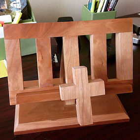 Cherry bookholder made in Art and Craft style with Cross page holder.Created by Arbor-Craft.