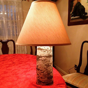 White Birch log lamp. Created by Arbor-Craft.