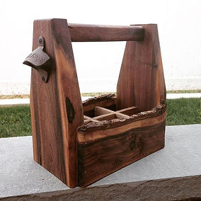 Live edge beer tote made from Black Walnut. Created by Arbor-Craft.