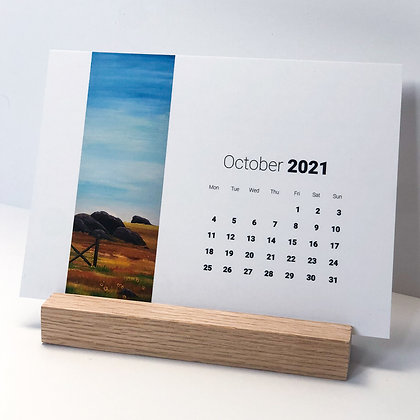 2021 Desk Calendar with Natural Hardwood Block Stand