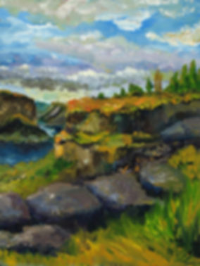 Oil Painting, Original Artwork by Monica D'Angelo, American West, Twin Falls, Snake River Canyon