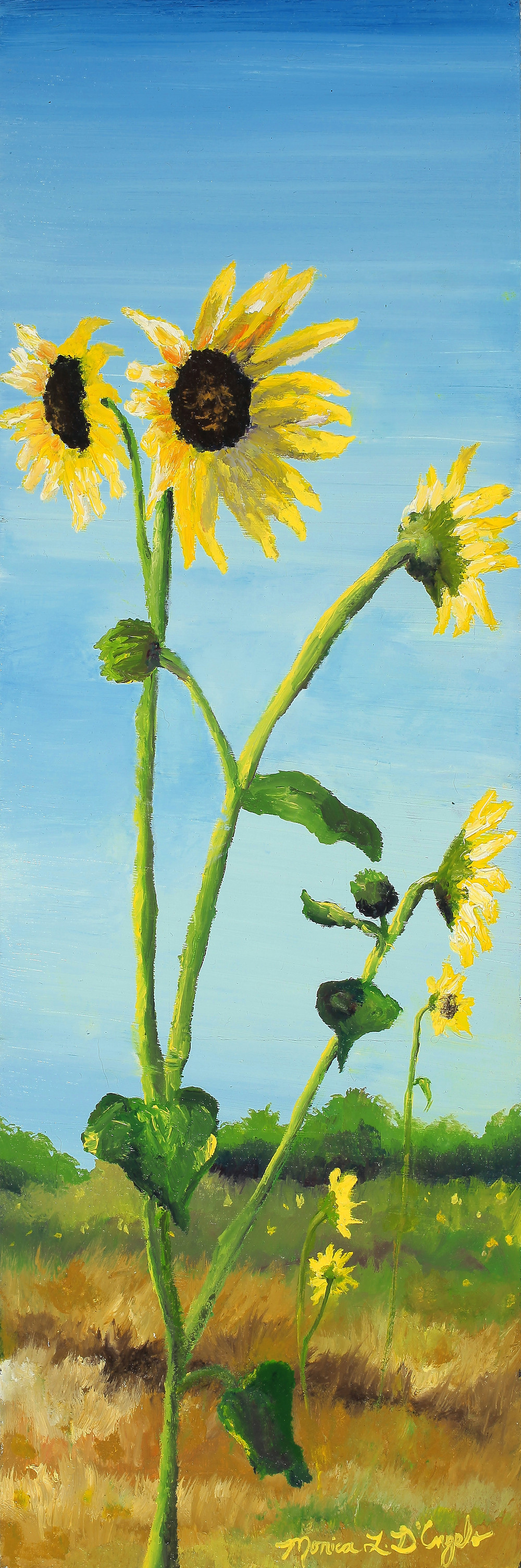 Sunflowers, original oil painting by Monica D'Angelo