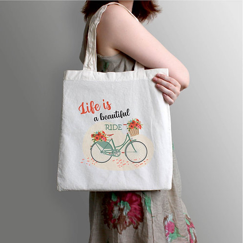 Life is beautiful | bicikli mintás vászontáska