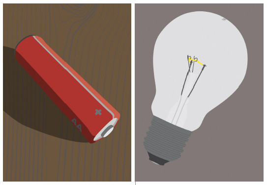 battery and light bulb