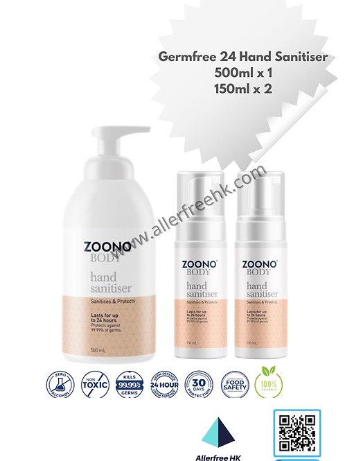 ZOONO 24小時長效殺菌搓手液 (500MLx1, 150MLx2) GermFree 24 Hand Sanitizer
