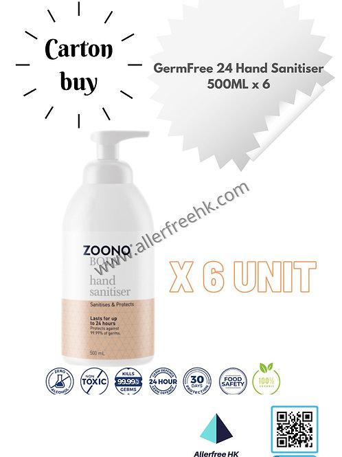 ZOONO 24小時長效殺菌搓手液 (500MLx6) GermFree 24 Hand Sanitizer