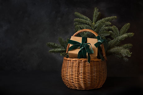 Christmas holiday gift hamper with craft