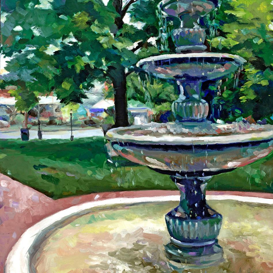 Fountain at Flinn Park   oil on canvas. 16x20