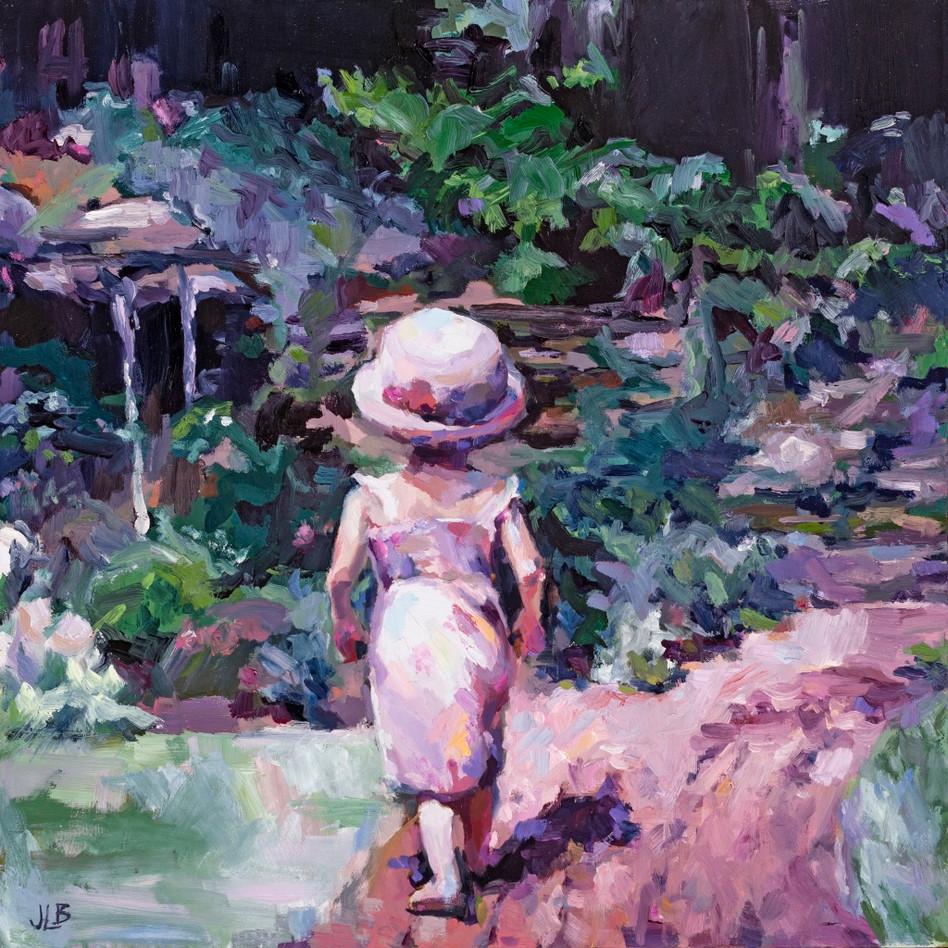 Grandmothers Garden   oil on panel. 12x12