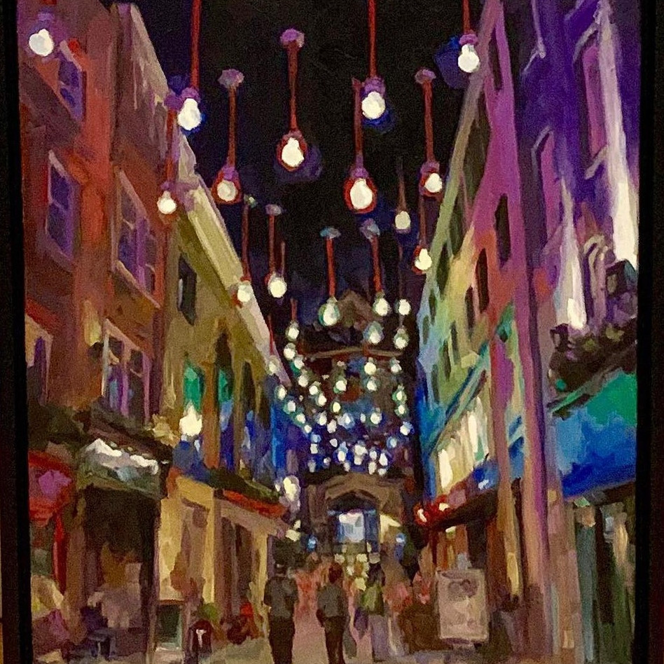 Carnaby Lights in London   oil on canvas. 16x20