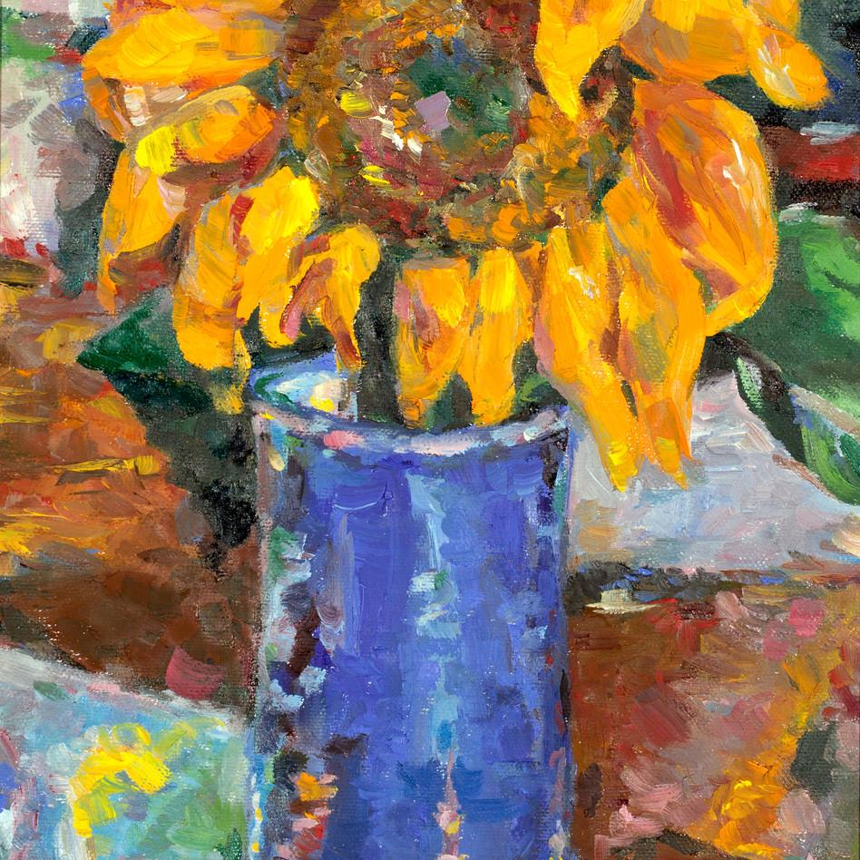 Sunflower in Blue Vase   oil on canvas. 11x14