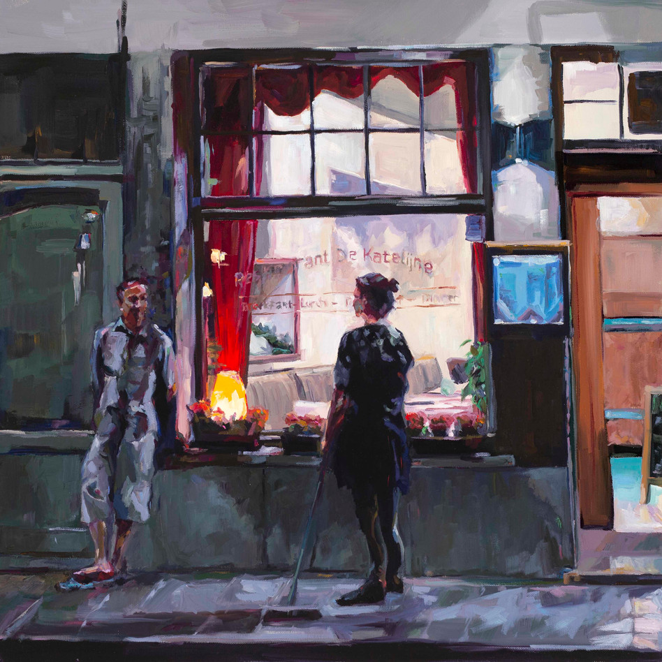 Shift's End in Bruges   oil on canvas. 24x24