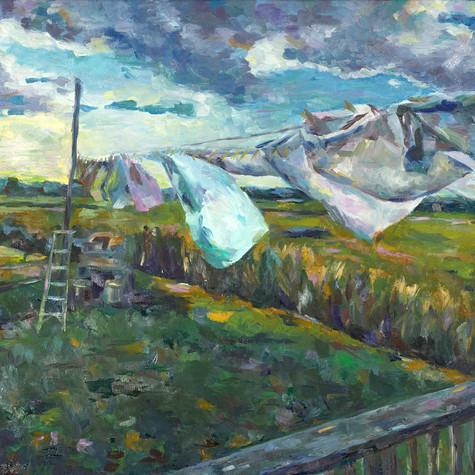 Clothesline   oil on canvas. 16x20