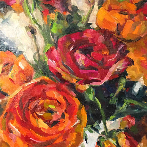 Ranunculus   oil on canvas. 9x12