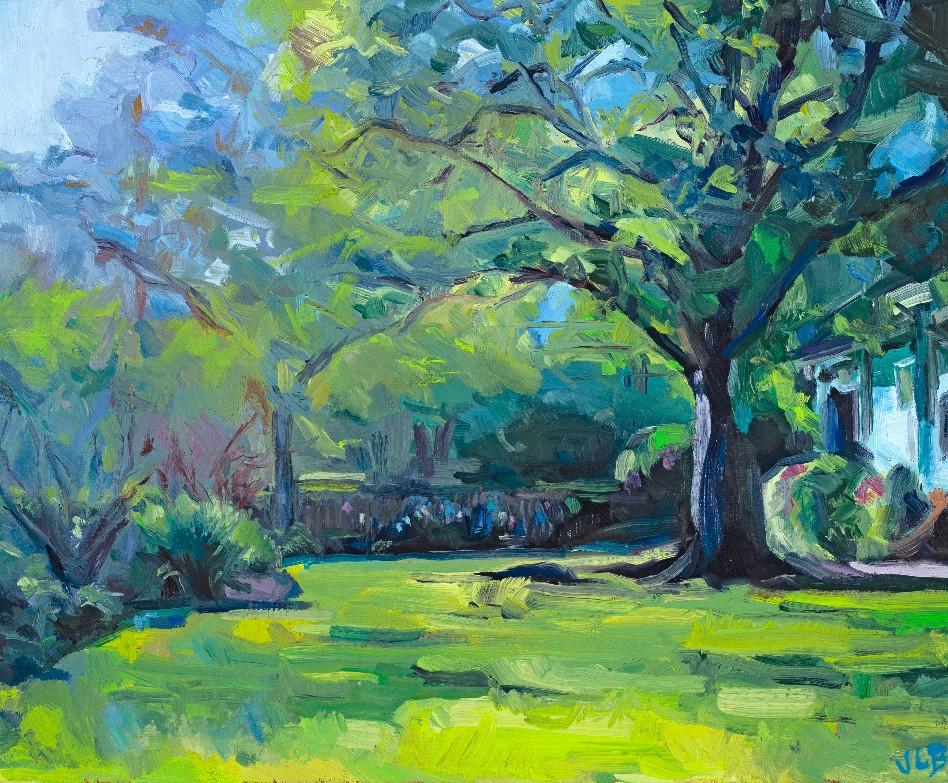 Yard Beyond the Park   oil on canvas. 11x14