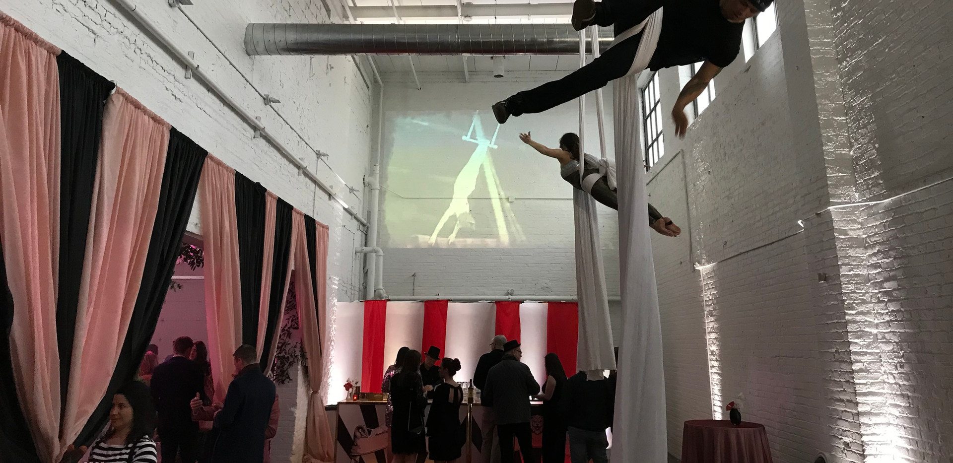 Aerialists and Projection at The Madison