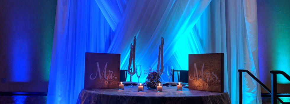 Sweetheart Table with Backdrop and Uplighting