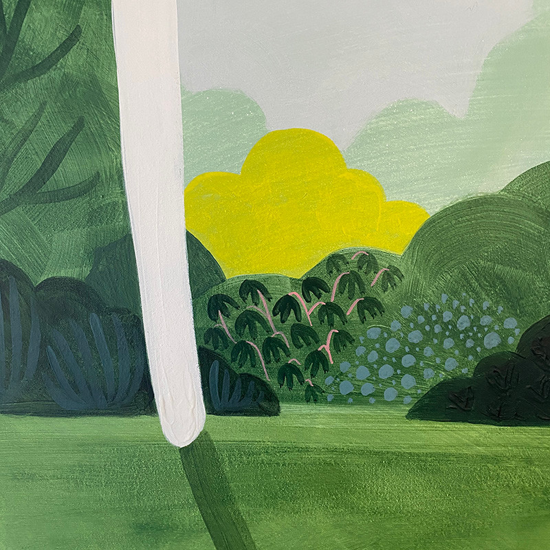 close up section of a green and yellow painting of bushes