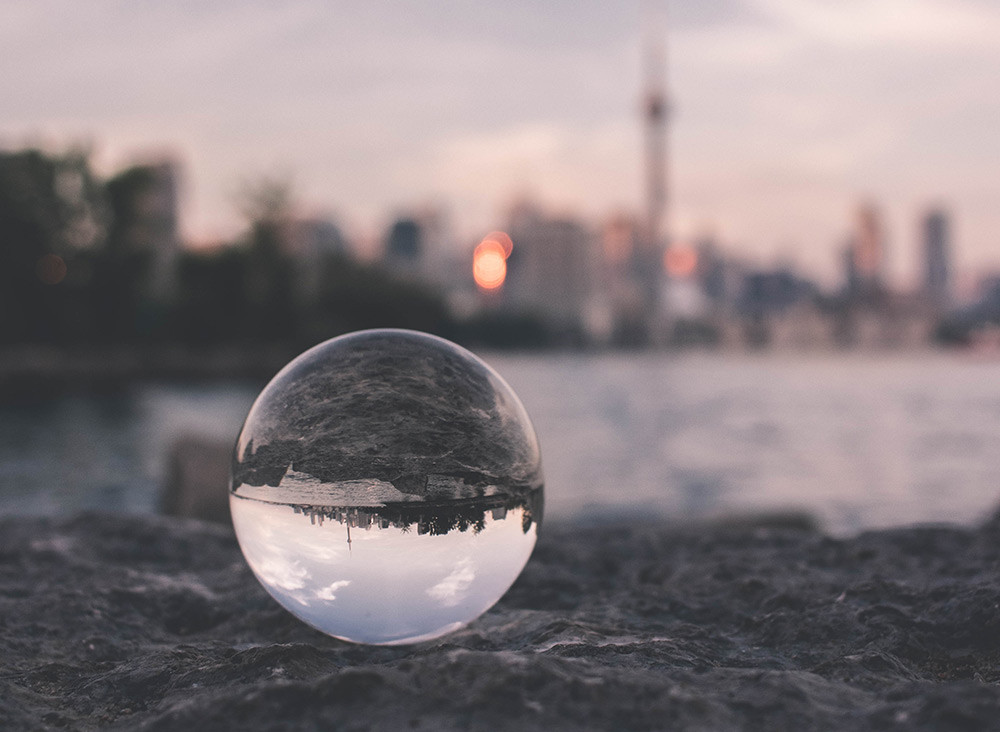 city view in a sphere