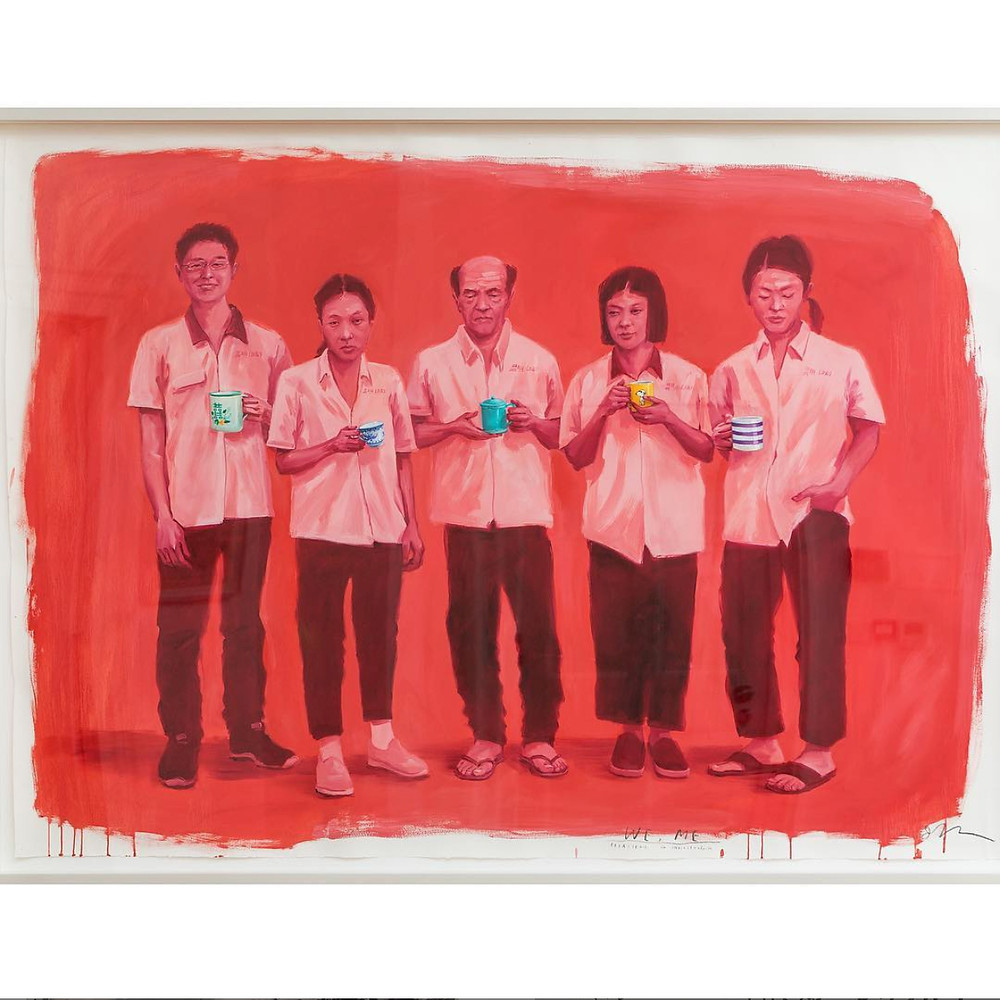 painting of chinese workers with mugs