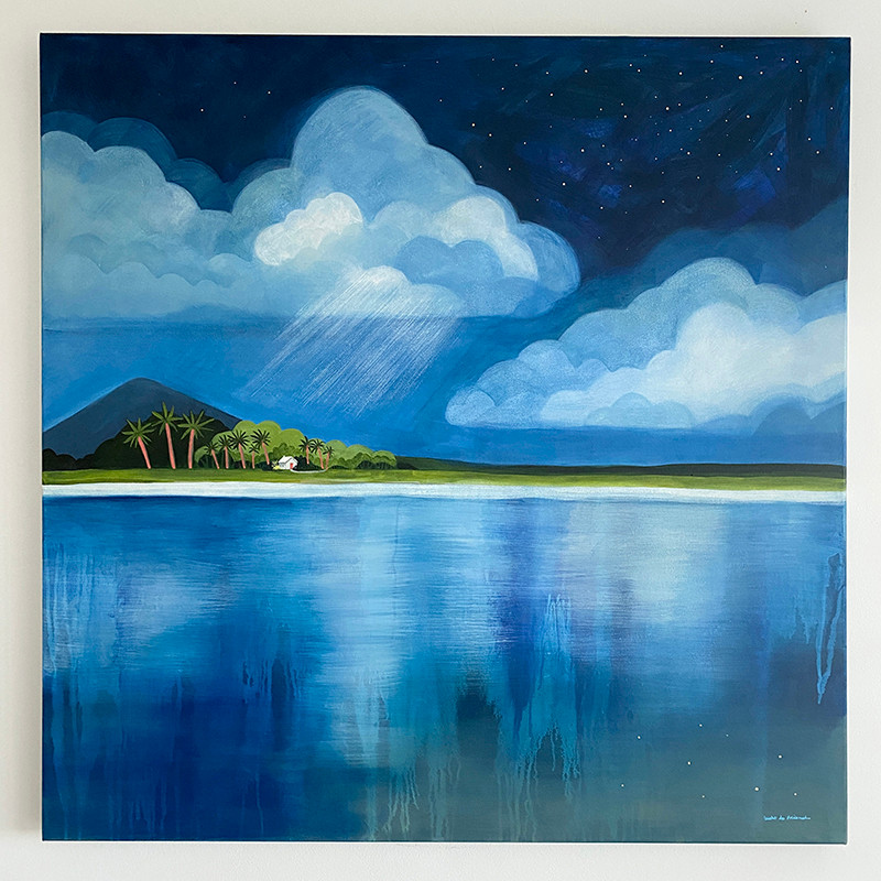 Moody blue painting of clouds, stars and sea, by Julie Lucht de Freibruch
