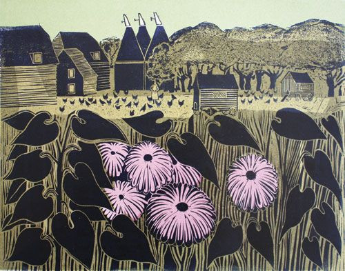 oast house block print by robert tavener