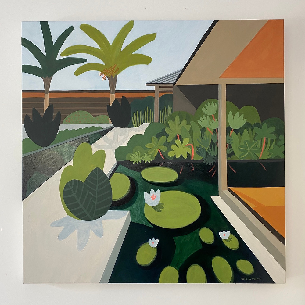 Lily pond painting with foliage and architecture
