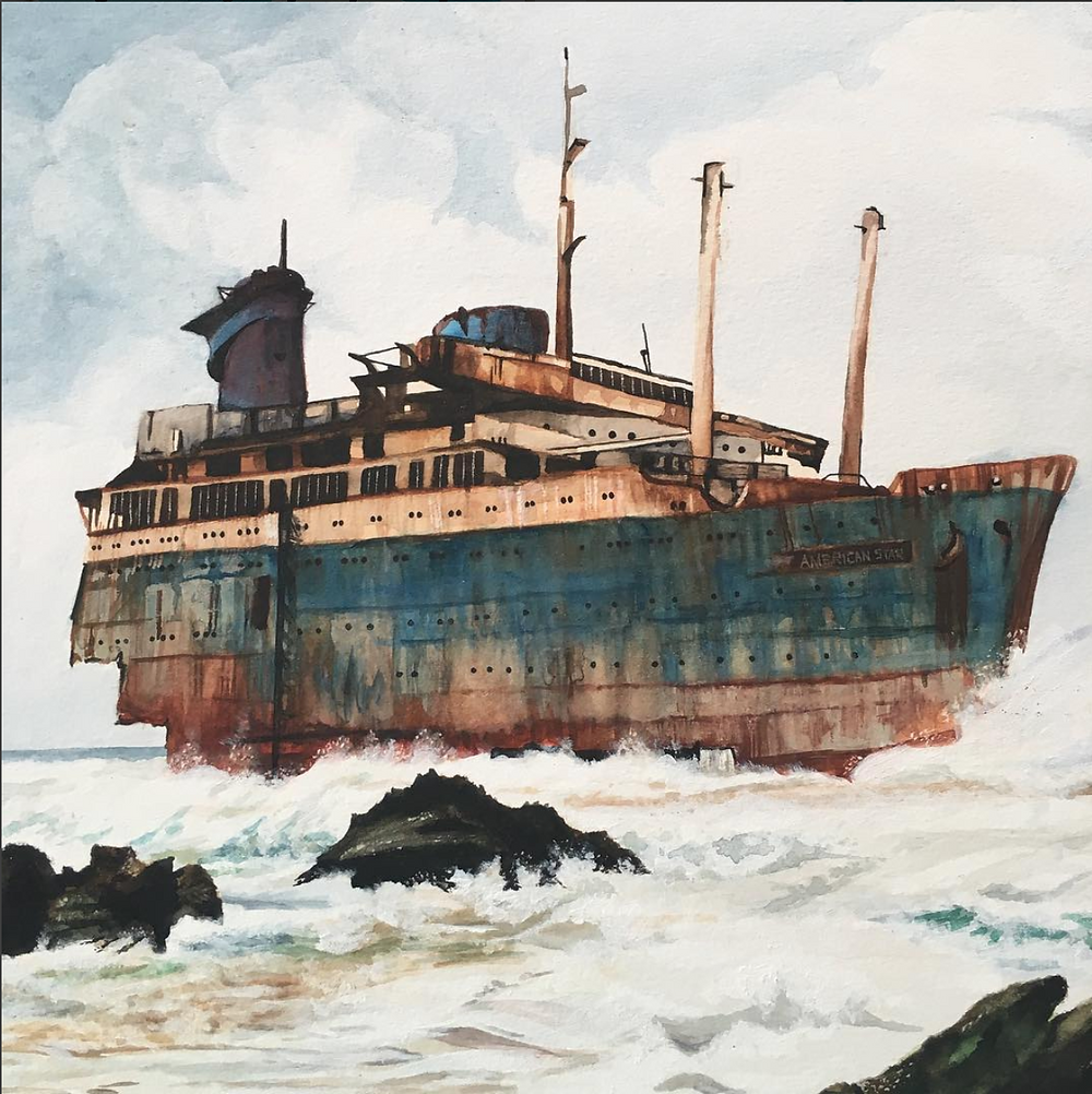 Watercolour painting of a shipwreck