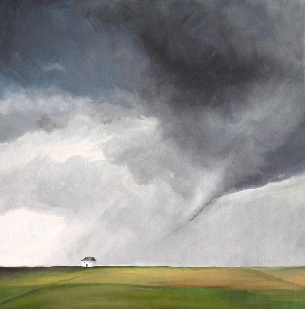 Tornado by a small house