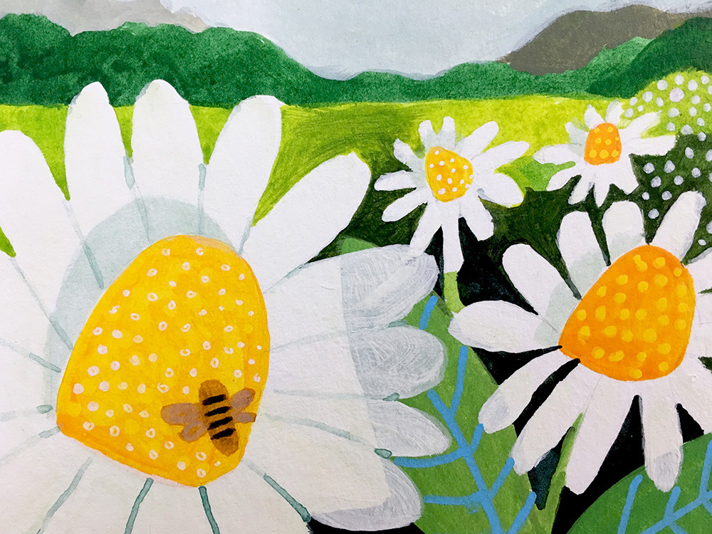 Flower field painting