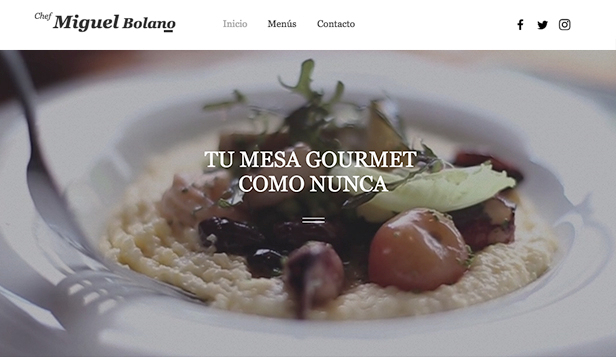 Eventos plantillas web – Chef privado