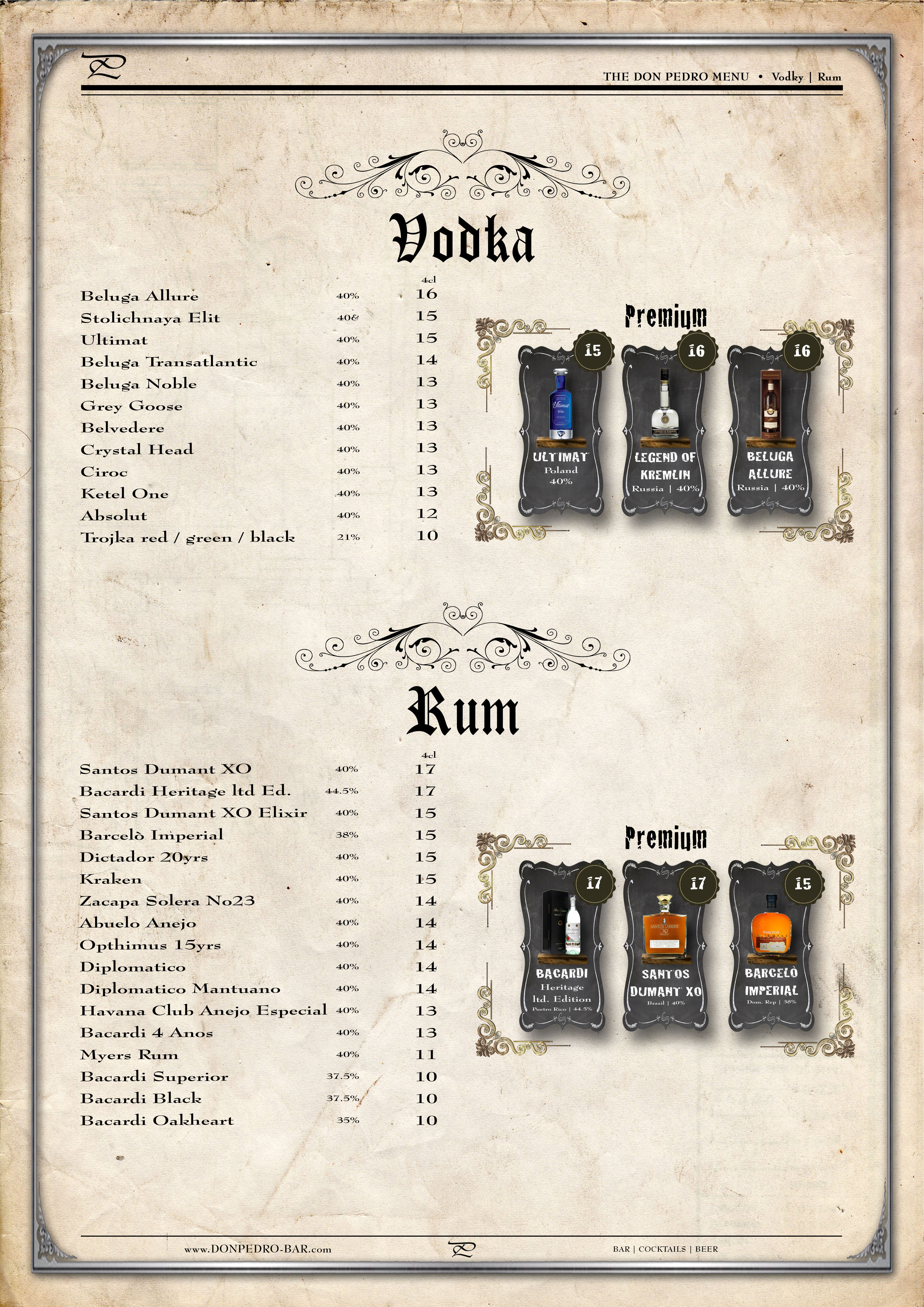 THE DON PEDRO MENU Vodka & Rum