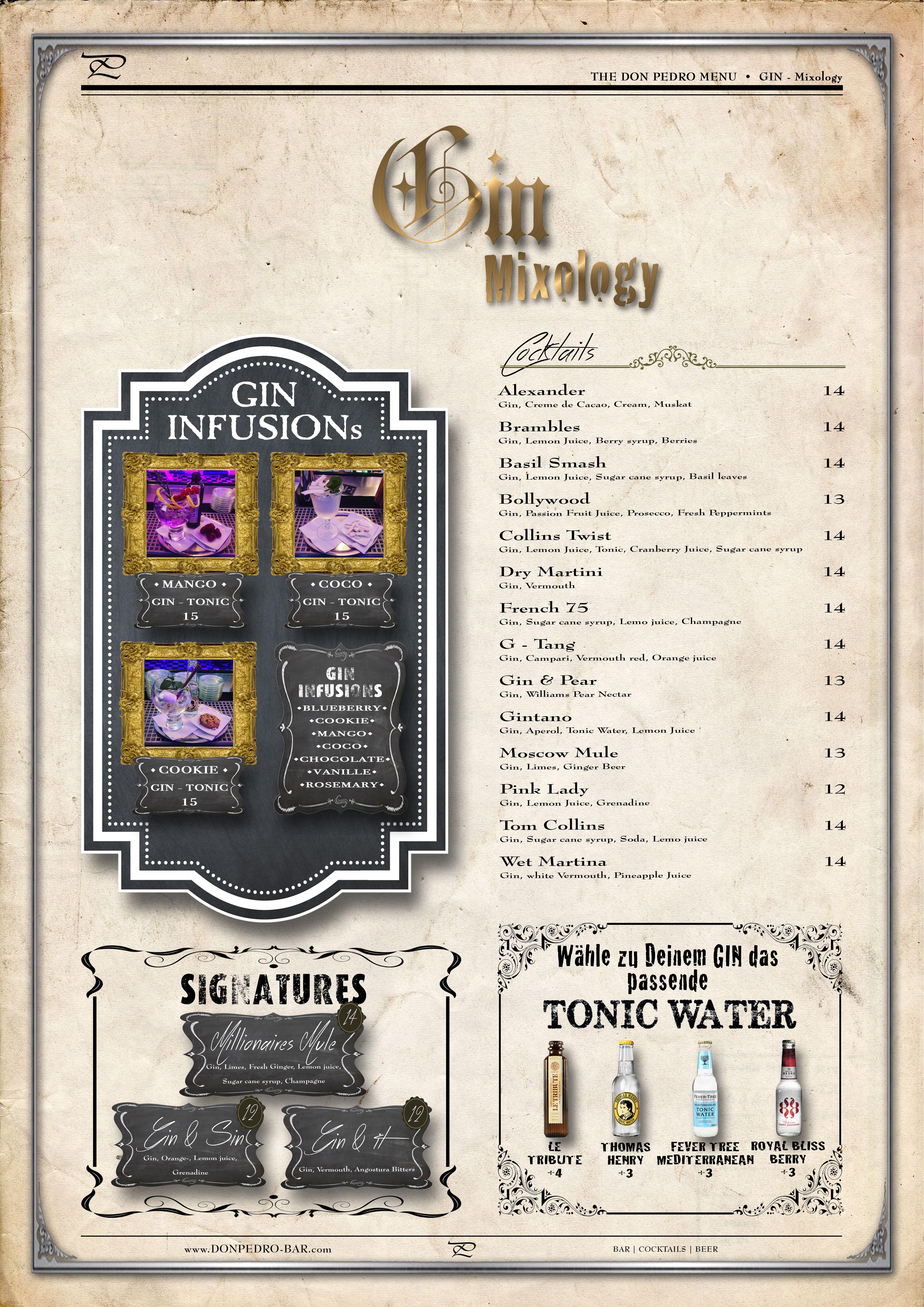 THE DON PEDRO MENU Gin Mixology