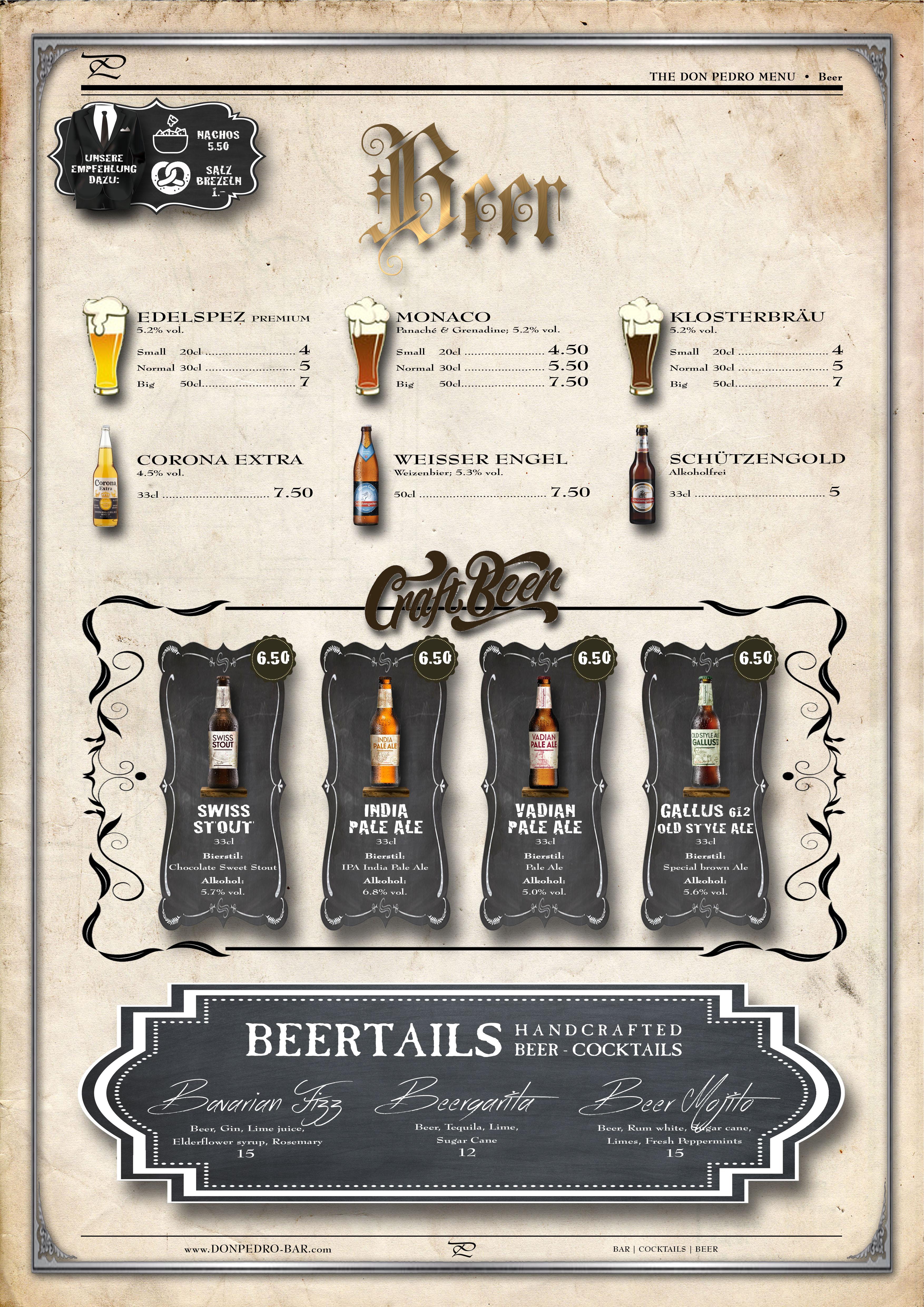 THE DON PEDRO MENU Beer