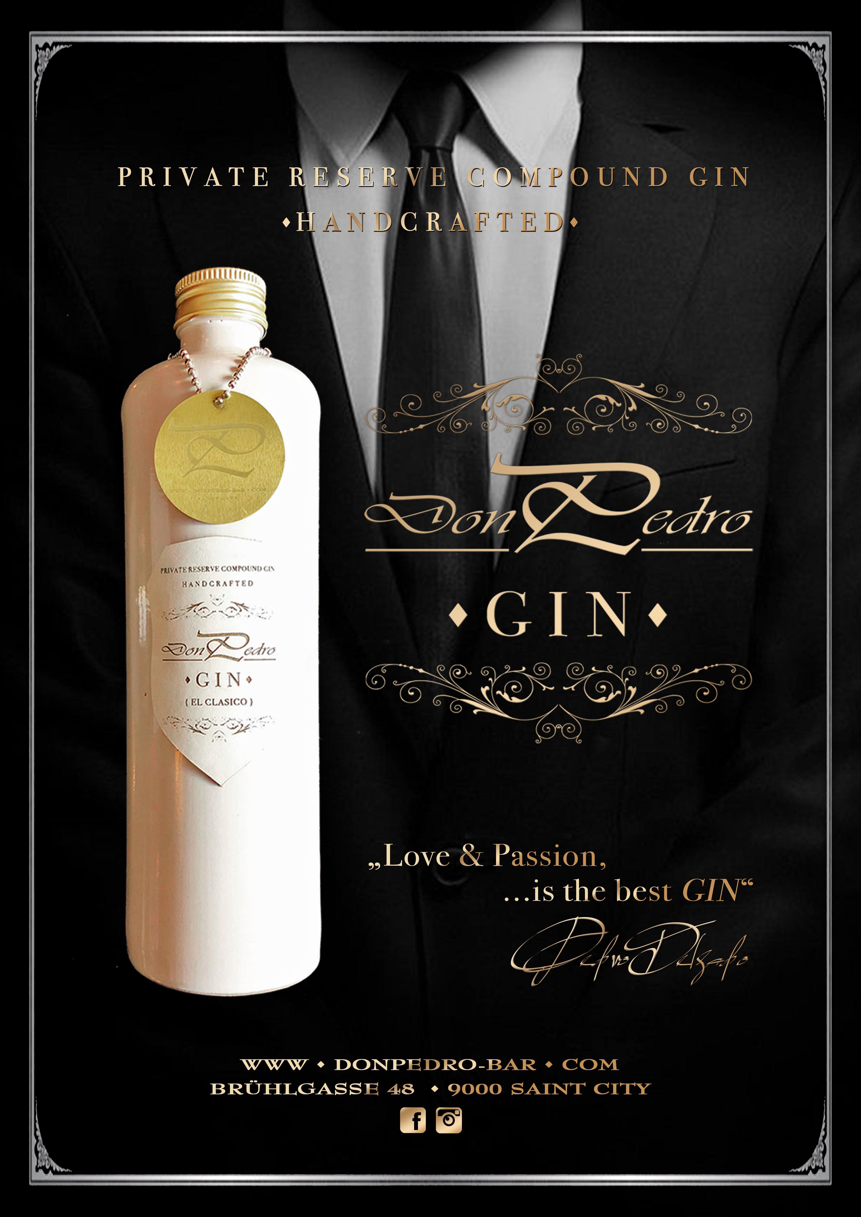 THE DON PEDRO MENU Gin Publicity