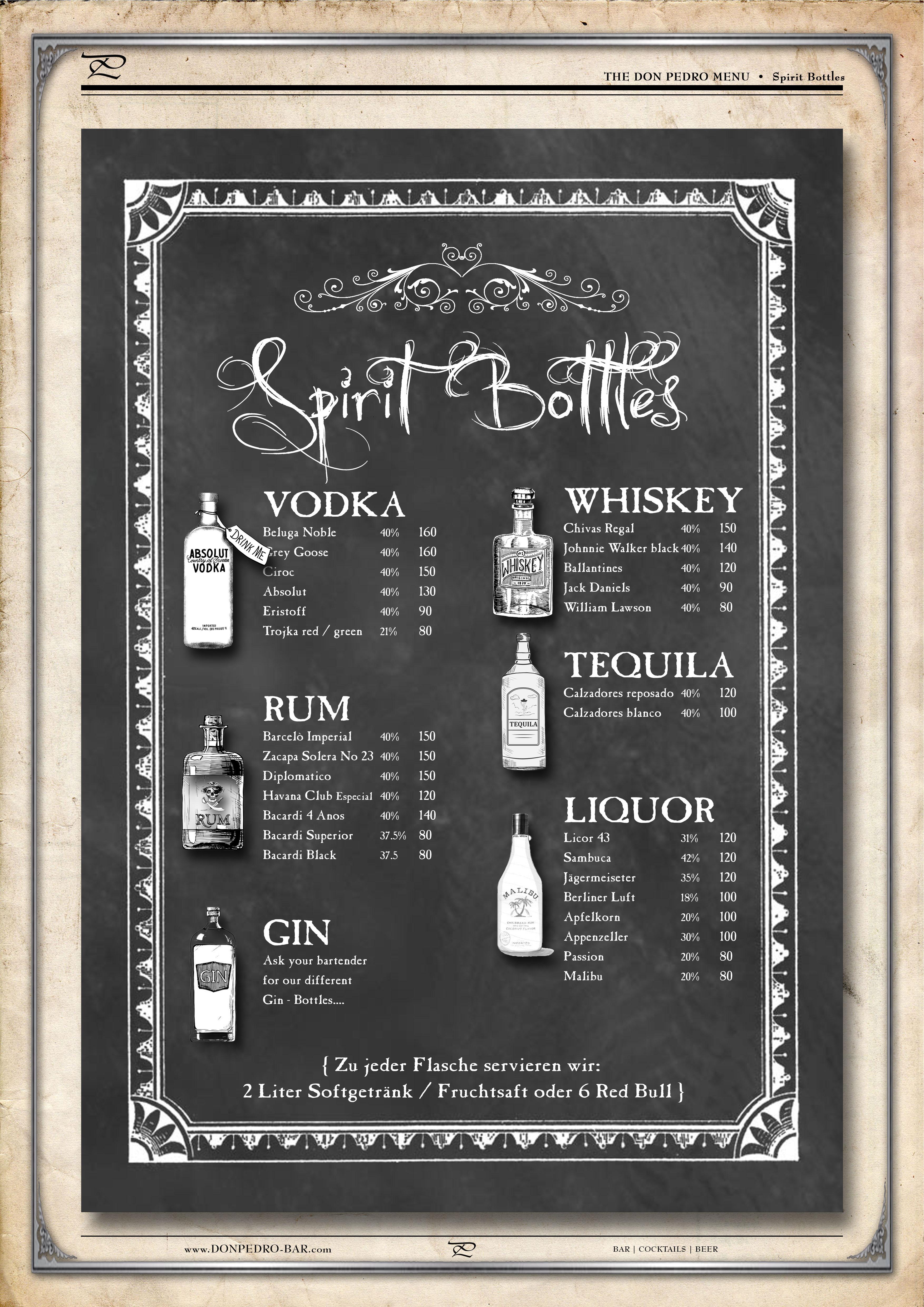THE DON PEDRO MENU Spirit Bottles