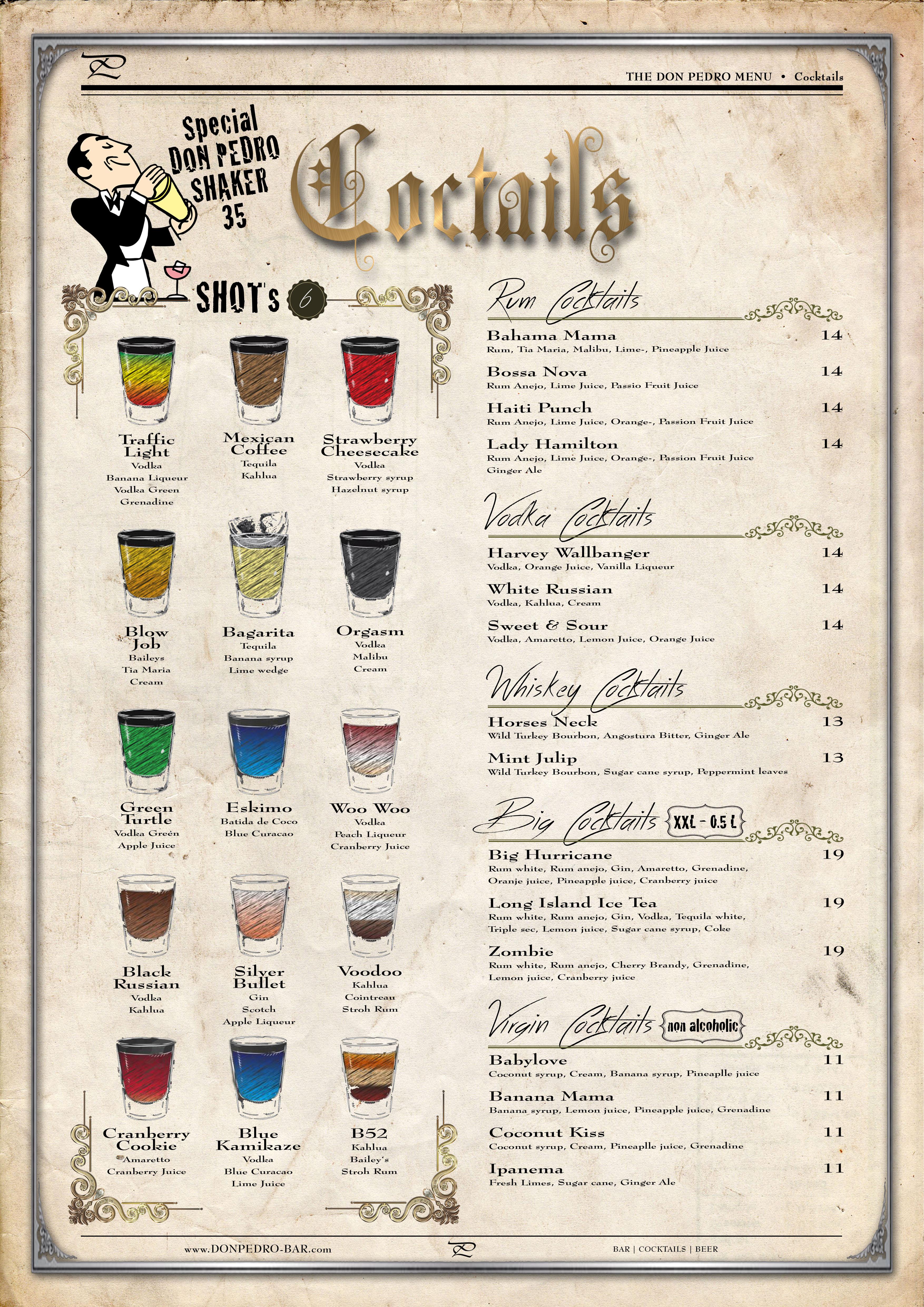 THE DON PEDRO MENU Cocktails
