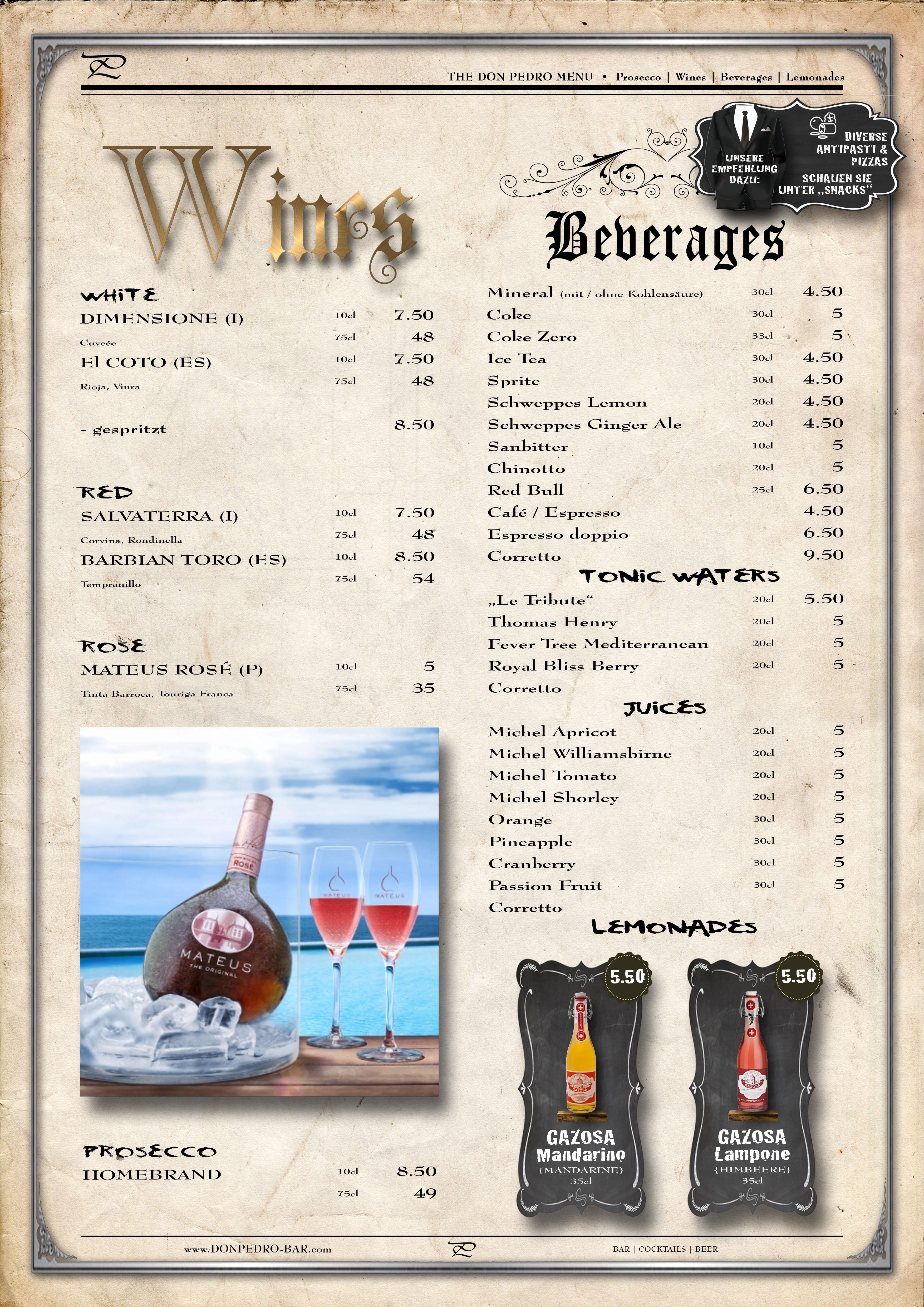 THE DON PEDRO MENU Wines & Beverages