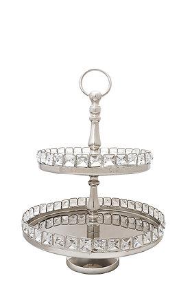 Kristal Taşlı İki Katlı Gümüş Sunum Servis Ürünü