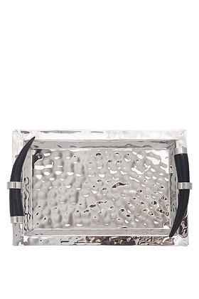 Boynuz Saplı Gümüş Dikdörtgen Tepsi